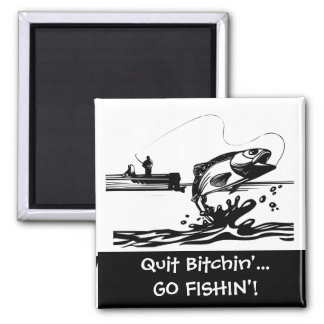 Funny Fishing Saying - Cartoon Graphic 2 Inch Square Magnet