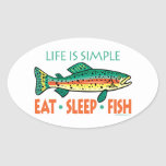 Funny Fishing Saying Oval Stickers