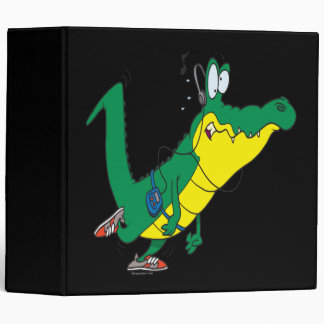 funny fitness gator alligator cartoon 3 ring binder