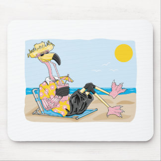 funny flamingo on vacation mouse pad