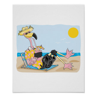 funny flamingo on vacation poster