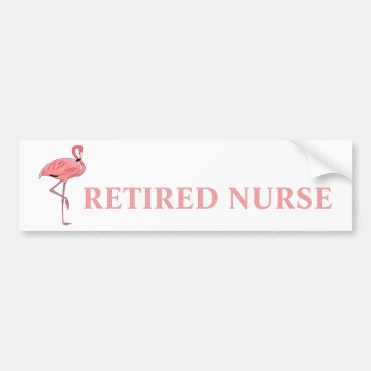 Funny flamingo retired nurse bumper sticker