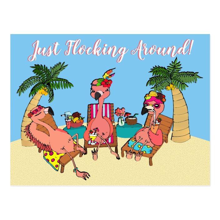 Funny Flamingos On Beach Vacation Illustration Postcard Zazzle Com