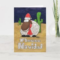Funny Fleece Navidad Cartoon Sheep Christmas Card