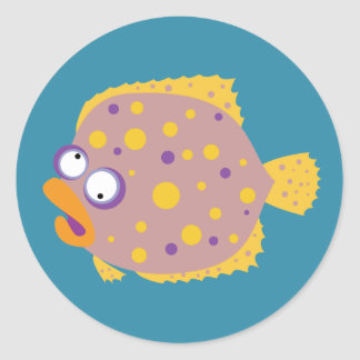 Funny Flounder Classic Round Sticker