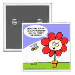 Funny Flower & Bee Button