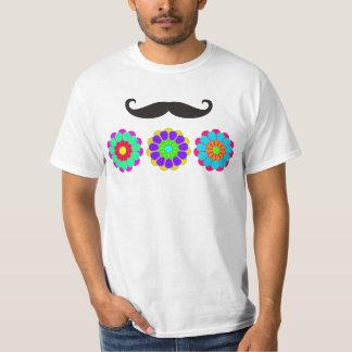 Funny Flower Power Bloom I II III + moustache T-Shirt