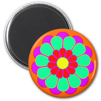 Funny Flower Power Bloom I 2 Inch Round Magnet