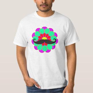 Funny Flower Power Bloom I + moustache T-Shirt