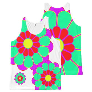 Funny Flower Power Bloom I + your backgr. & idea All-Over Print Tank Top