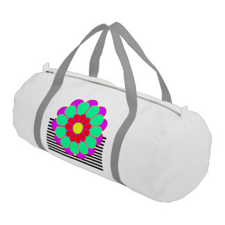 Funny Flower Power Bloom I + your backgr. & idea Duffle Bag
