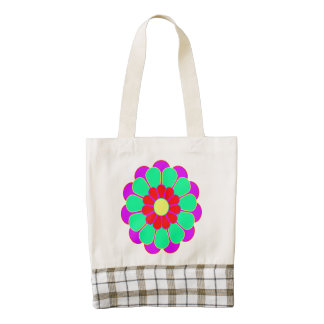 Funny Flower Power Bloom I + your backgr. & idea Zazzle HEART Tote Bag