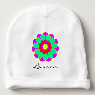 Funny Flower Power Bloom I + your backgr. & idea Baby Beanie