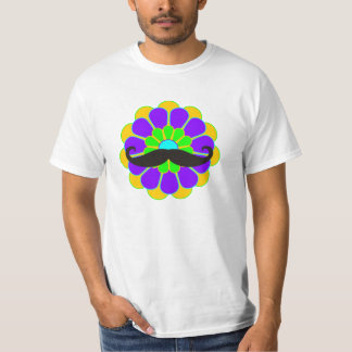 Funny Flower Power Bloom II + moustache T-Shirt
