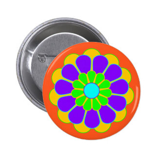 Funny Flower Power Bloom II + your backgr. & idea Pinback Button
