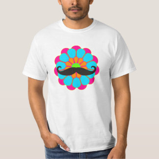 Funny Flower Power Bloom III + moustache T-Shirt