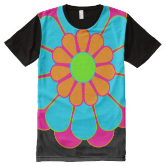 Funny Flower Power Bloom III + your backgr. & idea All-Over Print T-shirt