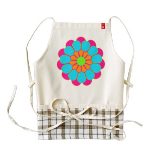 Funny Flower Power Bloom III + your backgr. & idea Zazzle HEART Apron