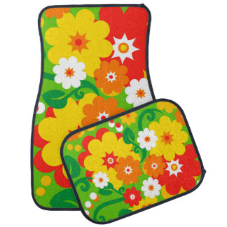 Funny Flower Power Wallpaper Car Mat