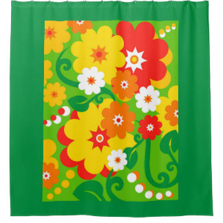 Funny Flower Power Wallpaper + your ideas Shower Curtain