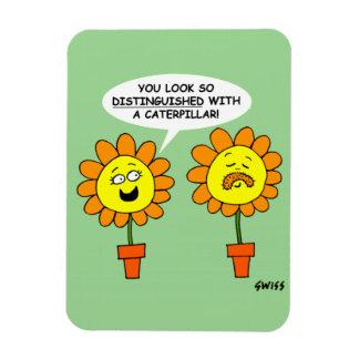Funny Flower w/ Caterpillar Mustache Large Magnet