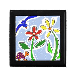Funny Flowers and Bluebird Art Jewelry Box