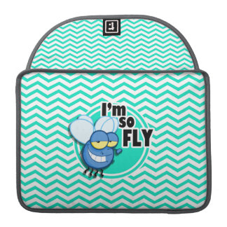 Funny Fly; Aqua Green Chevron MacBook Pro Sleeve
