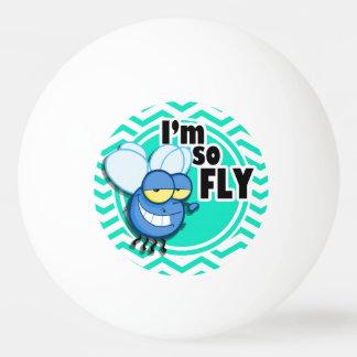 Funny Fly; Aqua Green Chevron Ping-Pong Ball