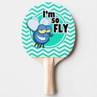 Funny Fly; Aqua Green Chevron Ping Pong Paddle