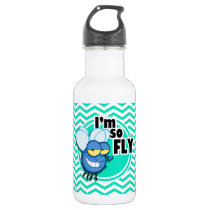 Funny Fly; Aqua Green Chevron Stainless Steel Water Bottle