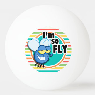 Funny Fly; Bright Rainbow Stripes Ping Pong Ball