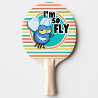 Funny Fly; Bright Rainbow Stripes Ping Pong Paddle