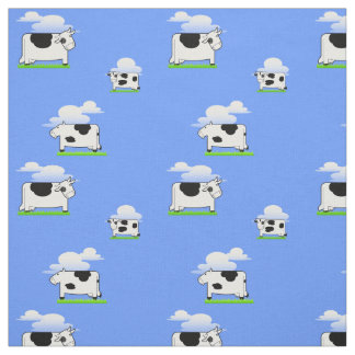 Funny  Flying Cows and Clouds Pattern Fabric