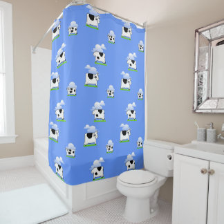 Funny  Flying Cows and Clouds Pattern Shower Curtain