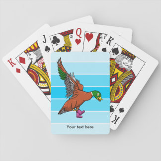 Funny Flying Duck Wearing Pilka Dot Gumboots Playing Cards