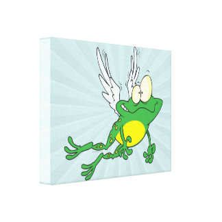 funny flying froggy frog cartoon canvas prints