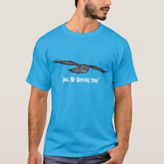 Funny Flying Great Grey Owl Wildlife Art T-Shirt
