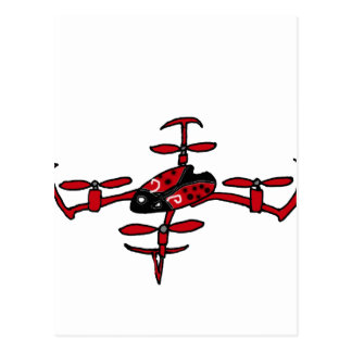 Funny Flying Ladybug Drone Art Postcard