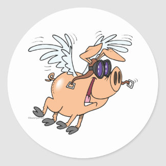 funny flying pig flyer cartoon classic round sticker