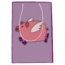Funny Flying Pig in Purple Sneakers Gift Bag