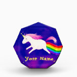 """Funny Flying Unicorn Farting a Rainbow Acrylic Award<br><div class=""""desc"""">Do you believe in magic? The design of this image features a pretty light pink unicorn flying across a purple water color sky,  and leaving behind her a magical trail of rainbow...  fart! Check out my UnicornFartz store for matching products. Customize as you wish!</div>"""