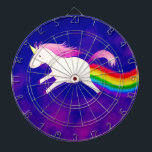 "Funny Flying Unicorn Farting a Rainbow Dart Board<br><div class=""desc"">Do you believe in magic? The design of this image features a pretty light pink unicorn flying across a purple water color sky,  and leaving behind her a magical trail of rainbow...  fart! Check out my UnicornFartz store for matching products. Customize as you wish!</div>"