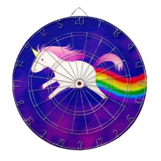 Funny Flying Unicorn Farting a Rainbow Dart Board