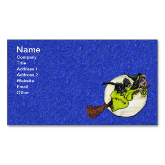 Funny Flying Witch Black Cat Moon Stars Halloween Business Card Magnet