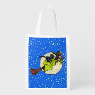Funny Flying Witch Black Cat Moon Stars Halloween Market Totes