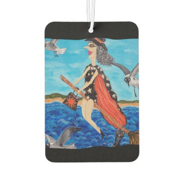 Beach Themed Funny Flying Witch Broom Cat Seagulls Beach Car Air Freshener