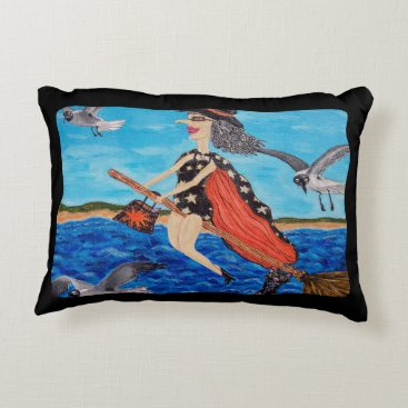 Beach Themed Funny Flying Witch Broom Cat Seagulls Beach Decorative Pillow