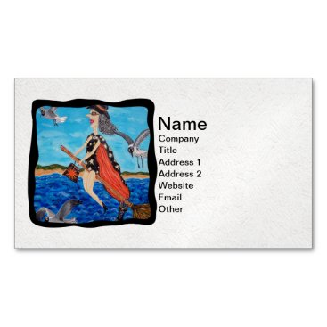 Beach Themed Funny Flying Witch Broom Cat Seagulls Beach Magnetic Business Card