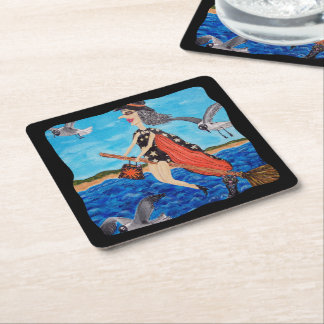 Funny Flying Witch Broom Cat Seagulls Beach Square Paper Coaster