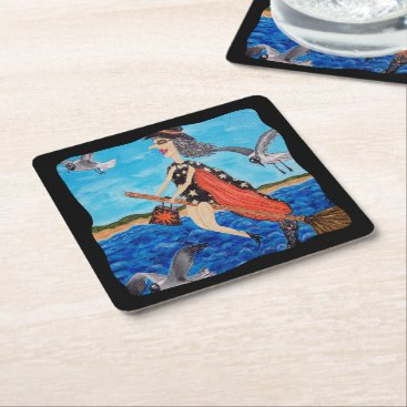 Beach Themed Funny Flying Witch Broom Cat Seagulls Beach Square Paper Coaster